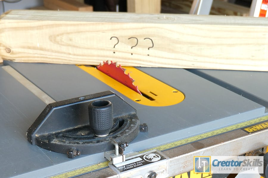 Table saw with 4x4 and miter gauge on top large