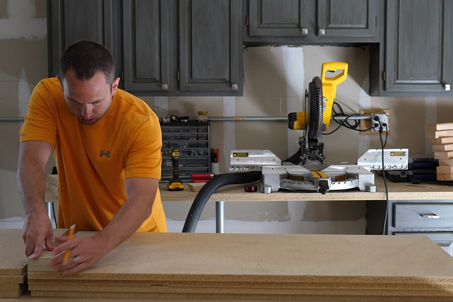 Mark working in his garage on a woodworking project